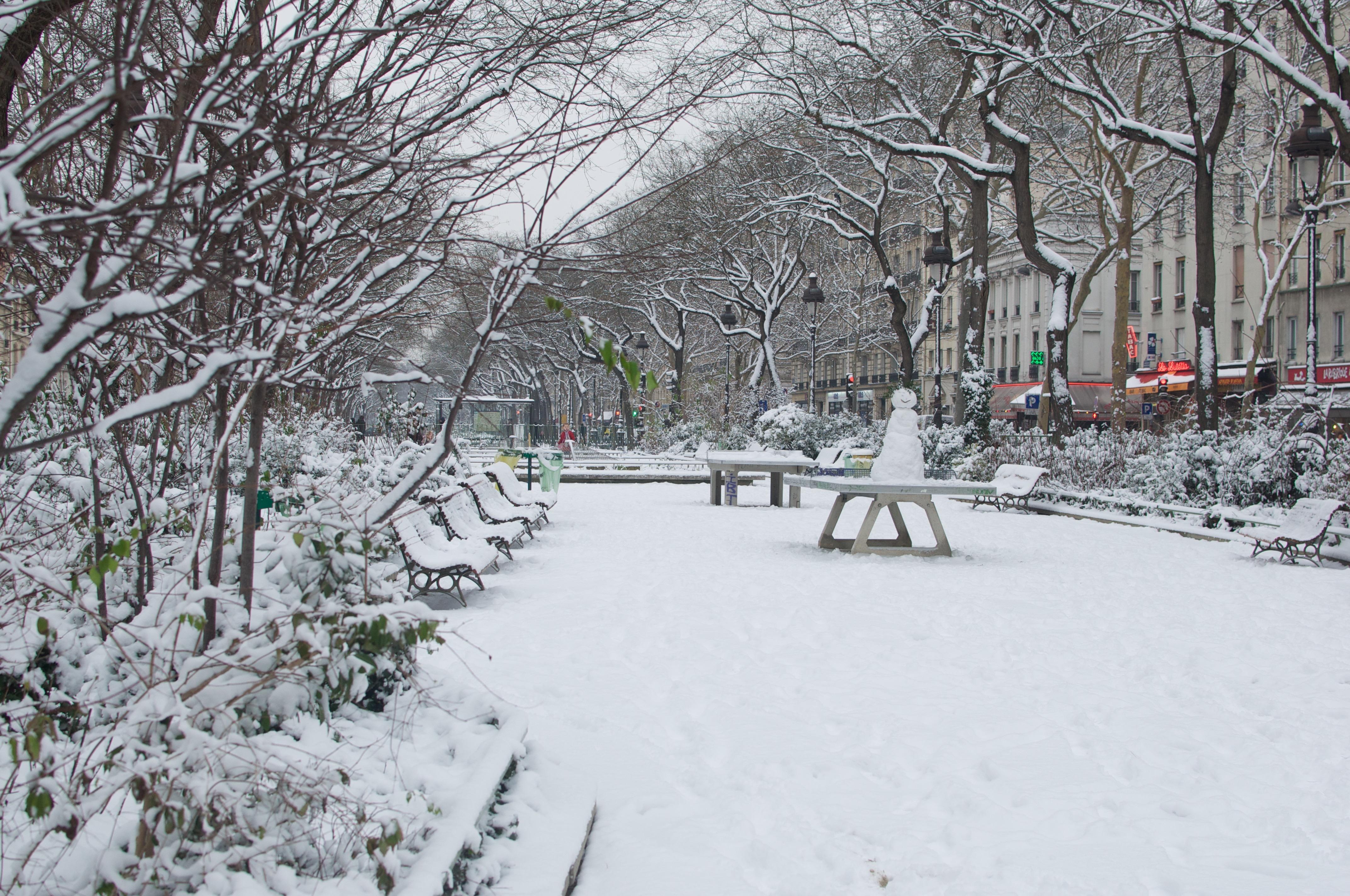 Parc parisien sous la neige